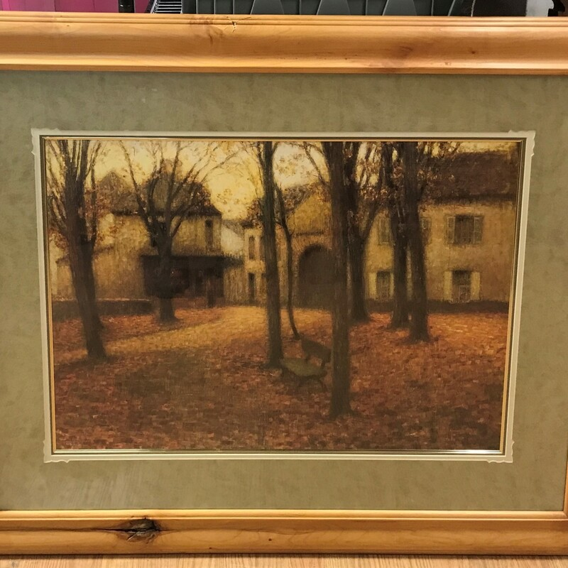Courtyard With Bench Fall, Print, Framed Size: 37.5in x 45.5in