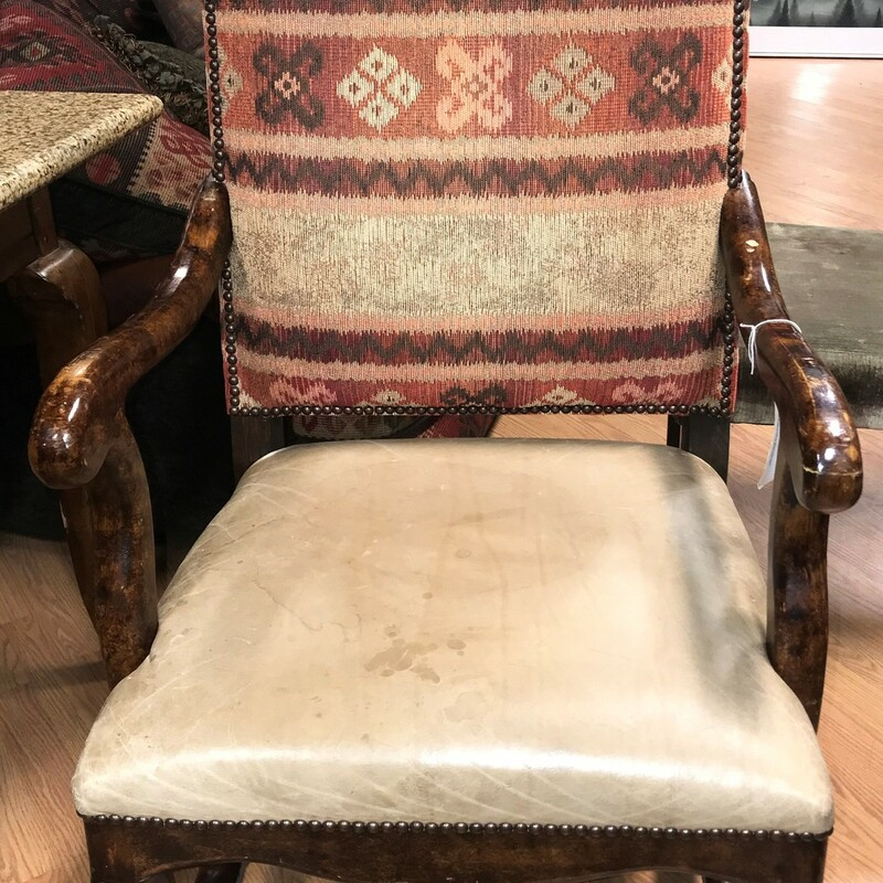 Rustic Western Arm Chair, Leather, Fabric Size: 24in x 24in x 47in
