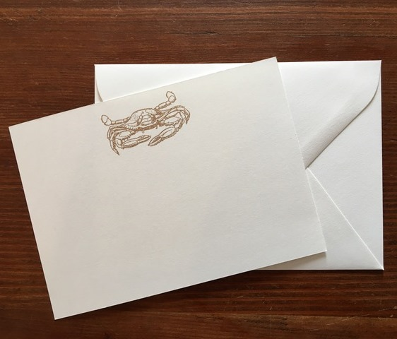 Gold Crab<br /> Flat White Fold Card<br /> Image Hand Embossed in Gold<br /> 10 Cards & Envelopes<br /> 5x7 inches<br /> JS348