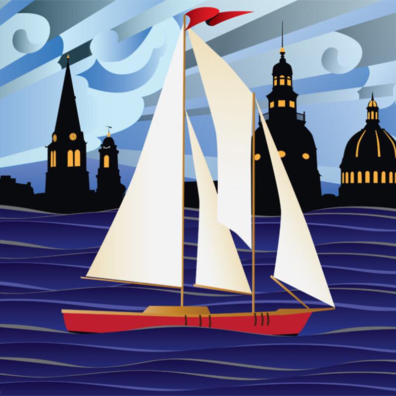 Red Sailboat-ArtPrint