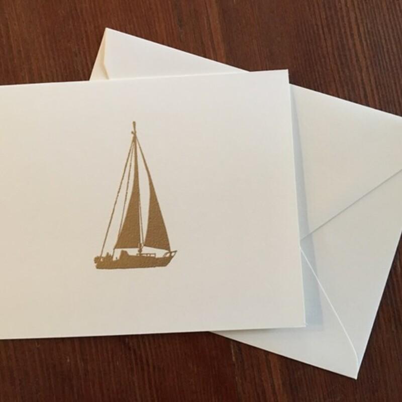 Gold Sail/Whi Fold Cards