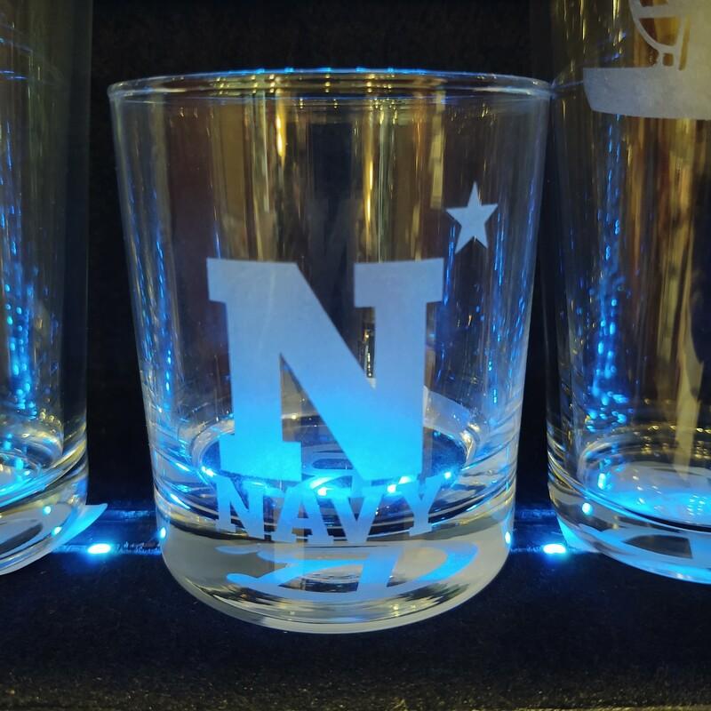 Navy Whiskey Glass