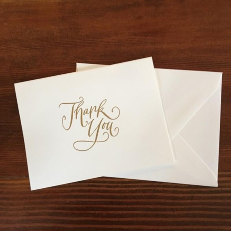 Gold Thank You / White