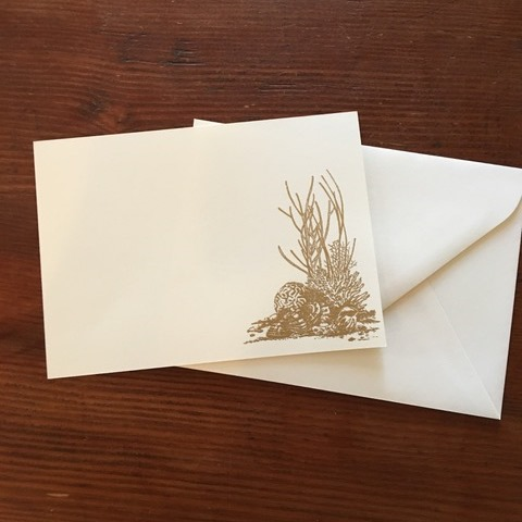 Gold Tall Coral<br /> Flat White Fold Card<br /> Image Hand Embossed in Gold<br /> 10 Cards & Envelopes<br /> 5x7 inches<br /> JS444