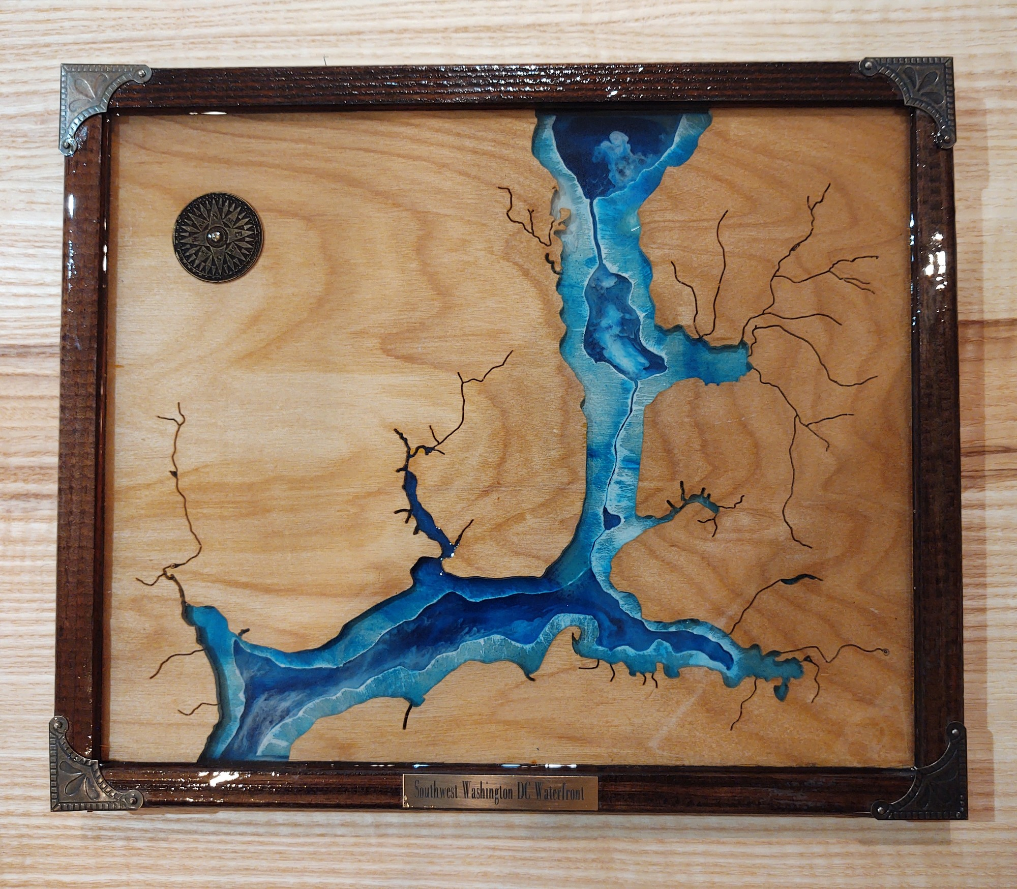 Southwest Washington DC  Waterfront Map<br /> Hand Cut Reclaimed Wood<br /> No Laer Or CNC Used<br /> Epoxy, Resin, Metal<br /> SWDC<br /> 12x14.5