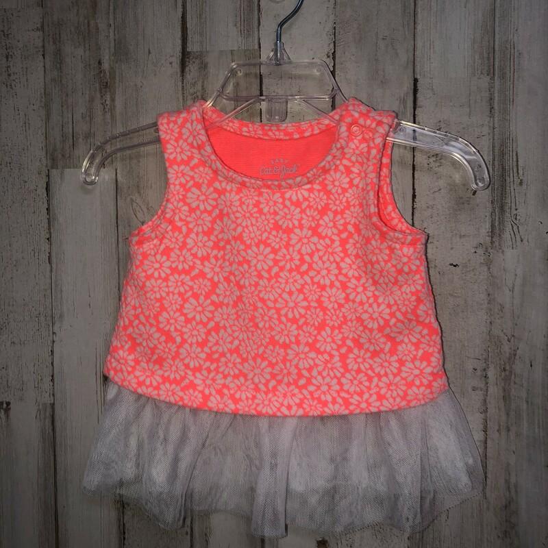3-6m Orange Lace Tank, Orange, Size: Girl NB-3m