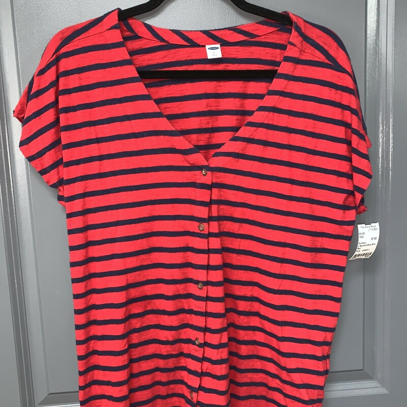 L Red And Blue Striped Bu, Red, Size: Ladies L