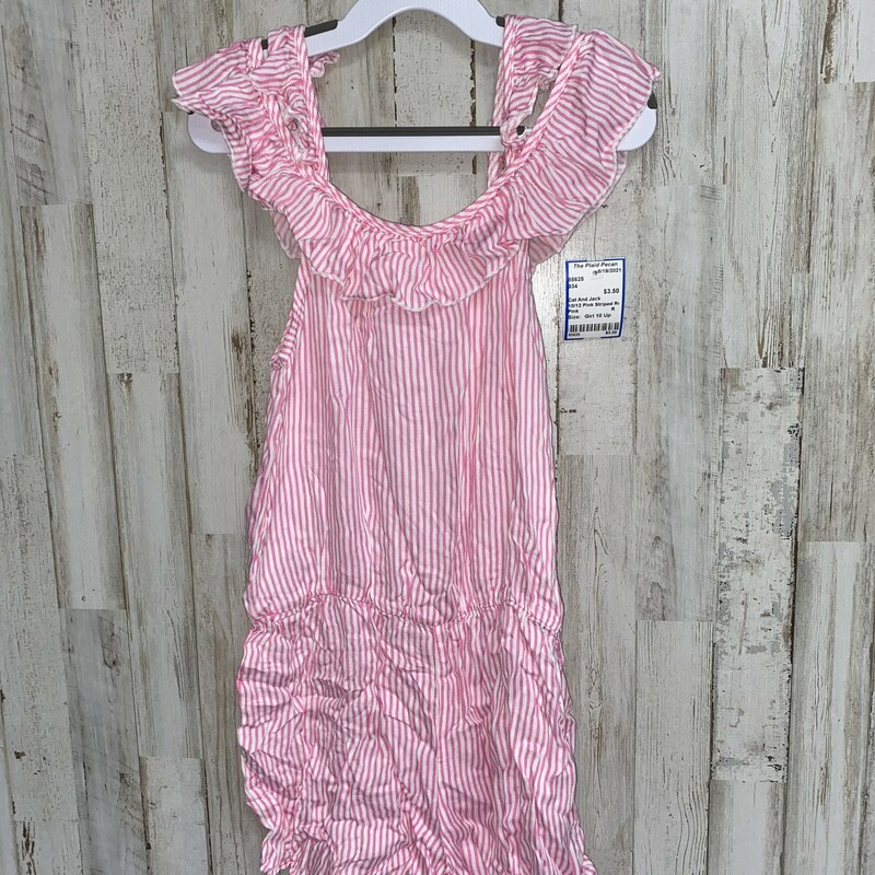 10/12 Pink Striped Romper, Pink, Size: Girl 10 Up