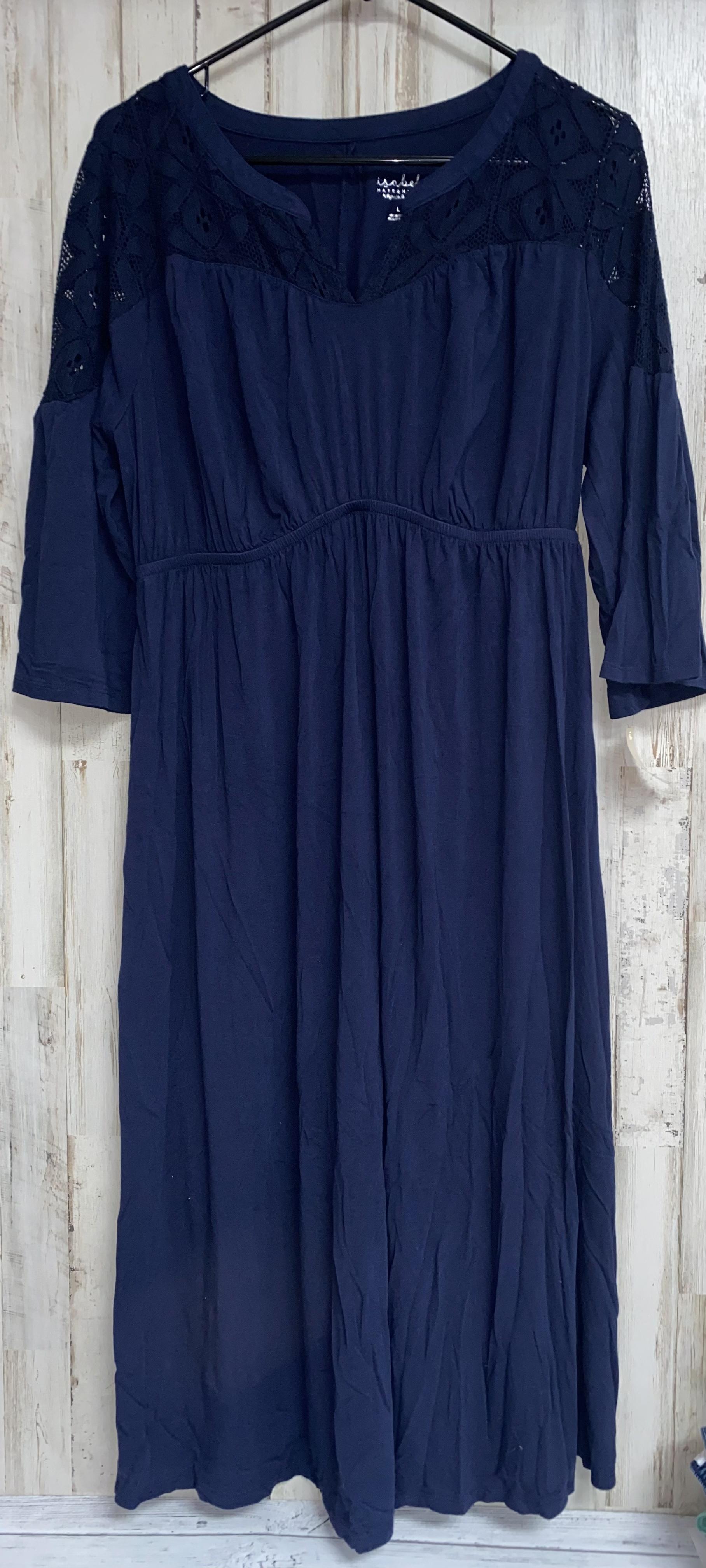 L Navy Lace Sleeve Dress, Navy, Size: Ladies L