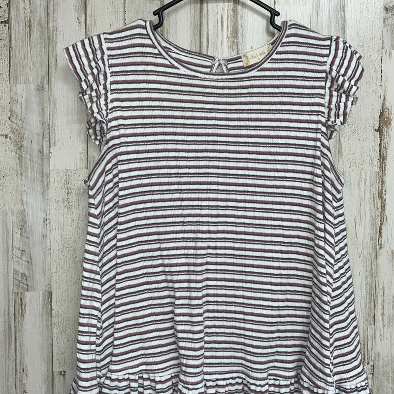 S Pink Striped Ruffle Top