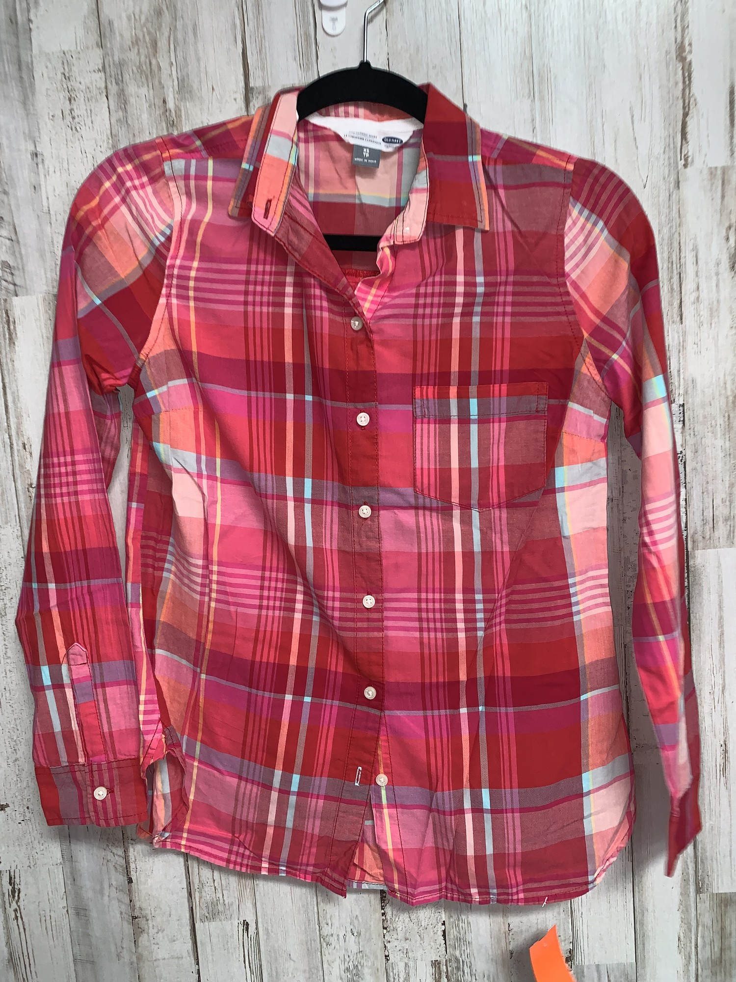 Xs Pink Plaid Button Up, Pink, Size: Ladies Xs