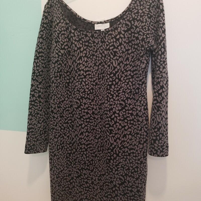 Jessica Simpson Print Maternity Dress Long Sleeve, Grey Black, Size: M