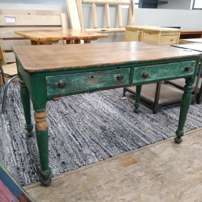 Vintage Green Desk,  48L x 28W x 30H in.