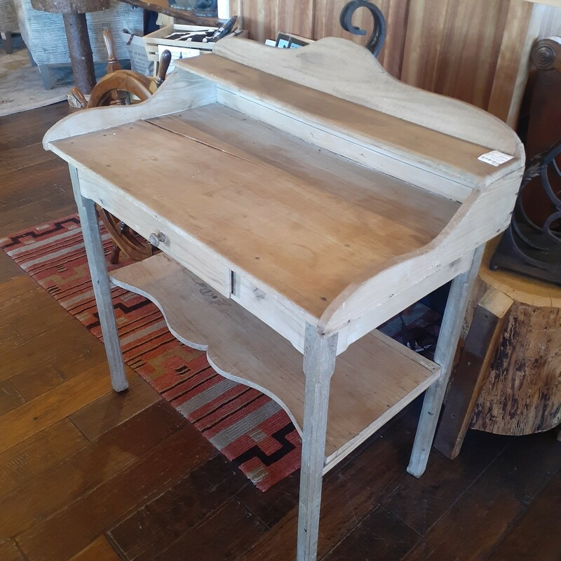 Pine Desk With Ledge And, Tan, Size: 34Wx19Dx38