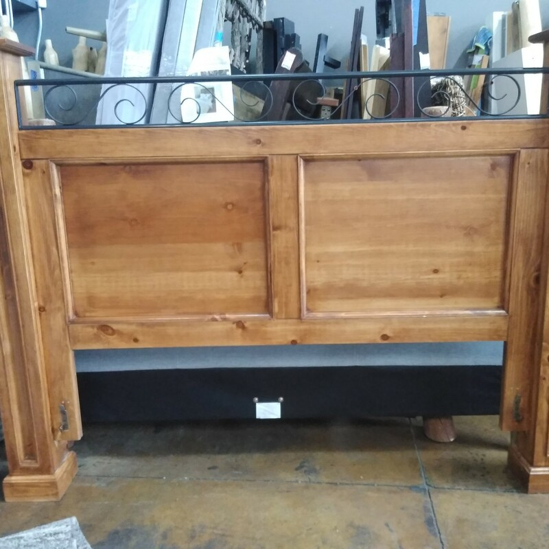 """Pine With Iron Scroll  -Complete bed frame set! Includes headboard, footboard, slats and side pieces!  78\""""W x 88\""""L x 59\""""H"""