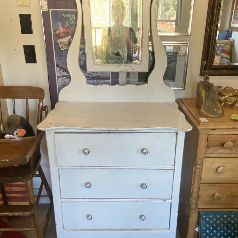 Vintage With Mirror   Dresser 35Hx29Wx18D Mirror 31Hx29W