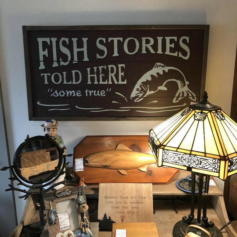 Wooden Fish Stories Sign