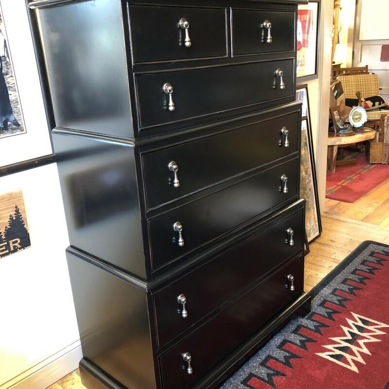 Black 7 Drawer Dresser  58 H X 37W x 19 D