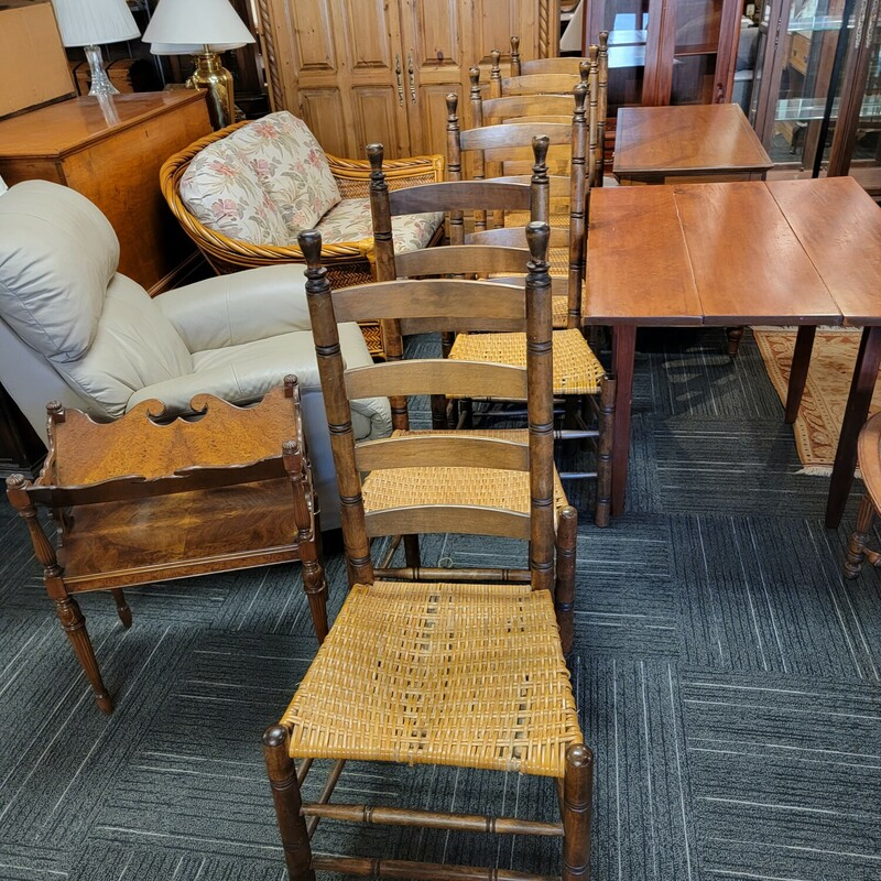 6 Ladder Back Chairs.  Seats have some damage