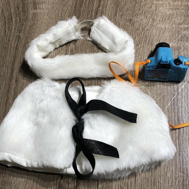 Doll Vest Headband Camera, White, Size: 18 Inch doll