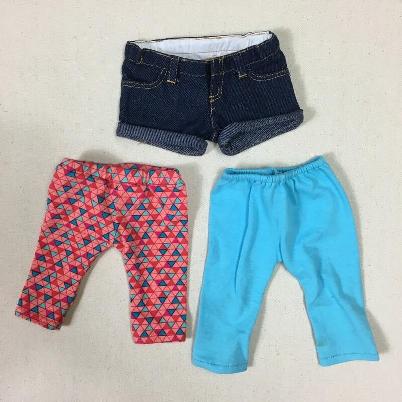 3pcs Doll Pants /shorts, Multi, Size: None