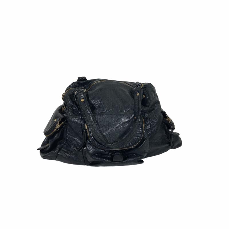 102-279 Leather Bag Gold, Black, Size: Purses