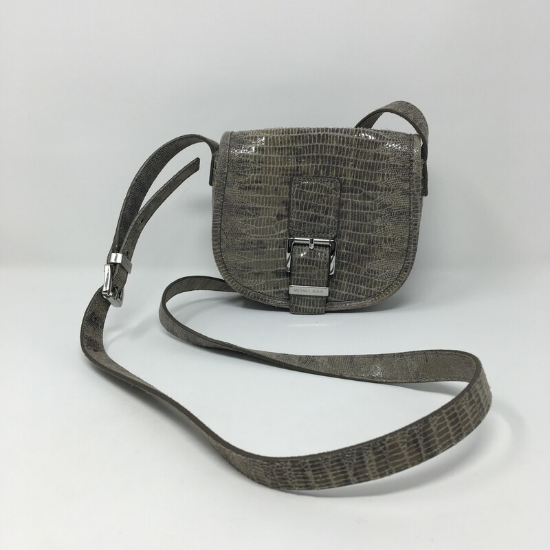 Michael Kors Reptile Skin, Grey, Size: Designer B small bag with silver detailing
