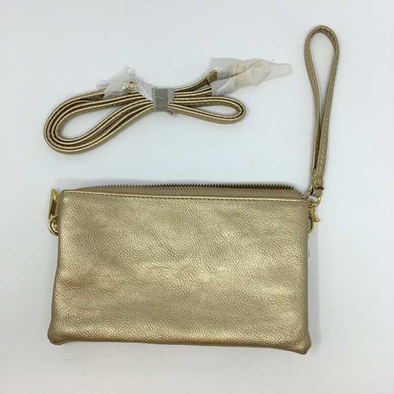 100-0325 X, Gold, Size: Clutches gold leather purse with multiple pockets leather and extension strap good condition