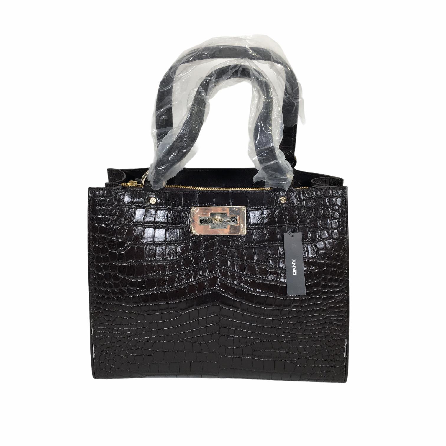 DKNY Croco Leather Purse, Dark Bro, Size: Purses