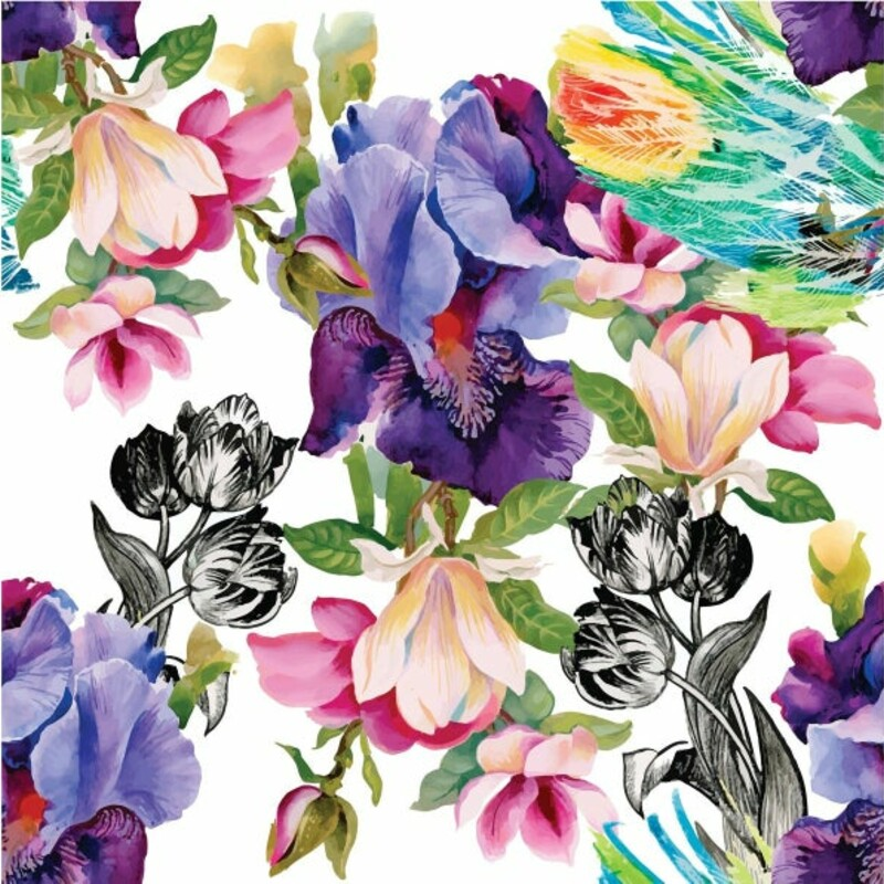 Colorful Floral With Blac