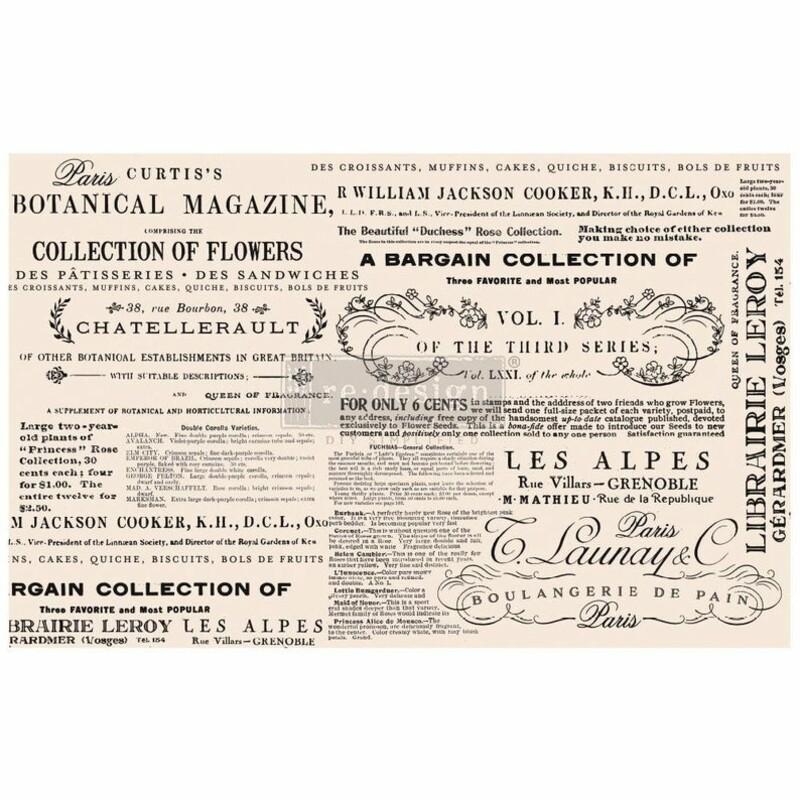 Floral Text -Decoup Paper