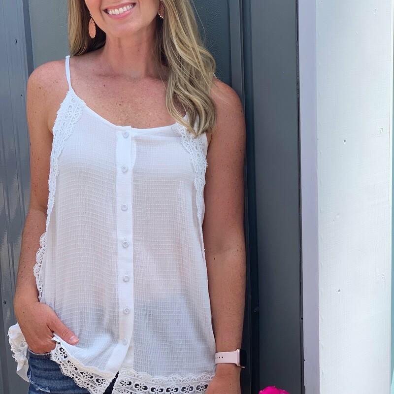 Button Up Lace Trim Tank