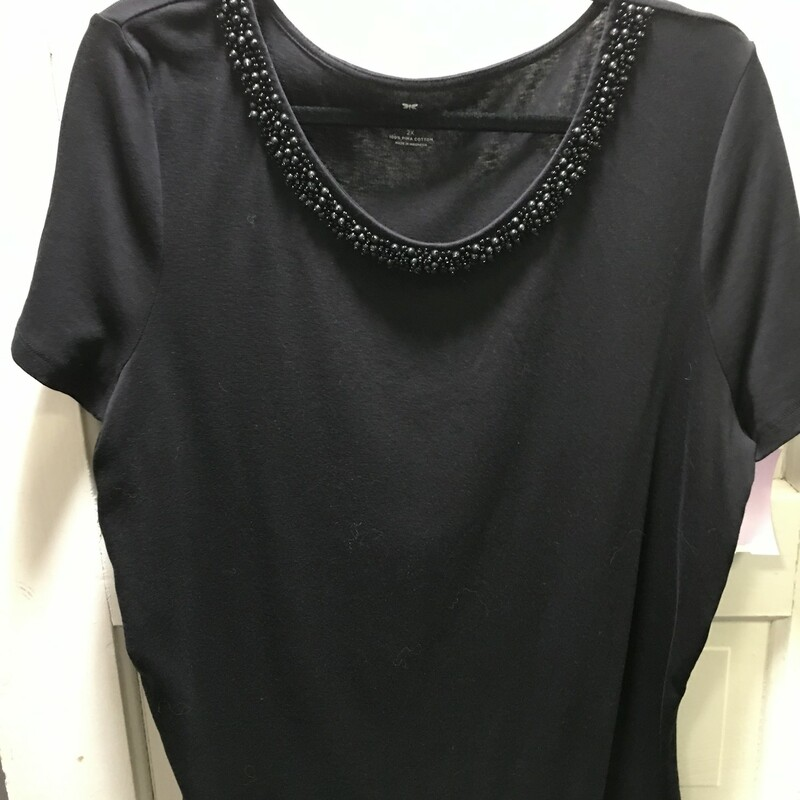 Talbots Designer Beaded Neck, Black, super soft and looks real new!  Size: 2x