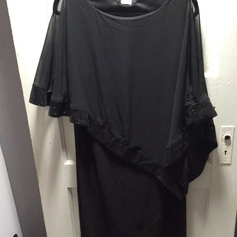 R&M Richards, Sequin trim with Sheer fabric, Black, Size: 12 Open split sleeve! Perfect for that special event!