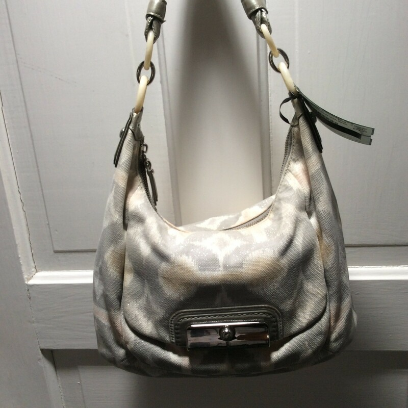 Coach, Cloth With Silver, Print, Size: 1 Handle