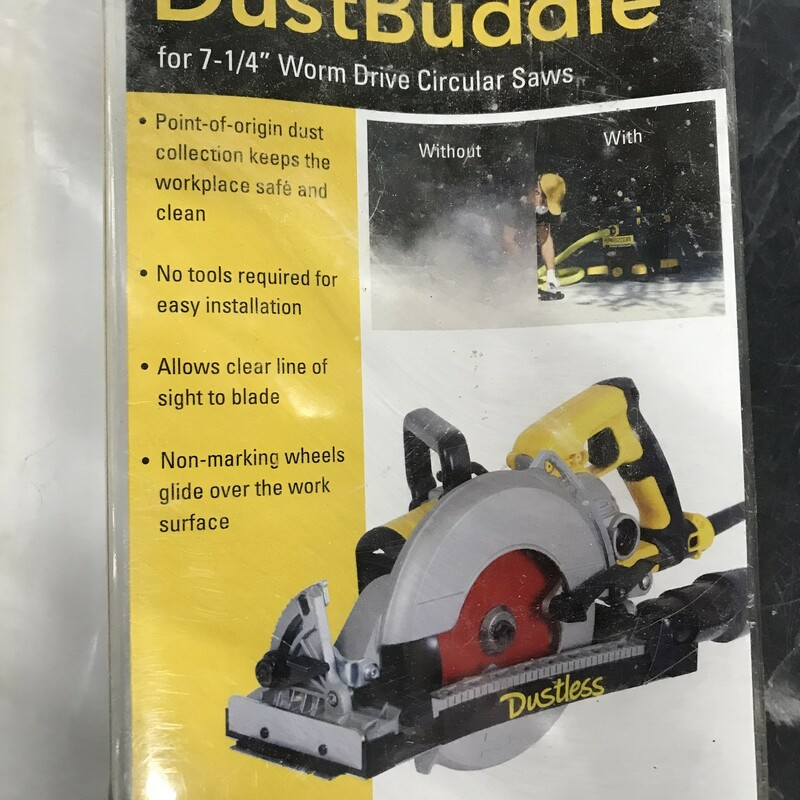 """Saw Dust Collector, Dust Budie Dustless D4000 Worm Drive Circular Saw Dust Collection Some people buy a saw just for the included shroud. Don't buy a new one—use the saws you already have. If you rely on one saw or many, you don't have to worry about buying a new grinder for dust containment. The DustBuddie is meant to fit most 7 1/4"""" worm drive and hypoid circular saws and will adapt to most standard wet dry vacuums."""