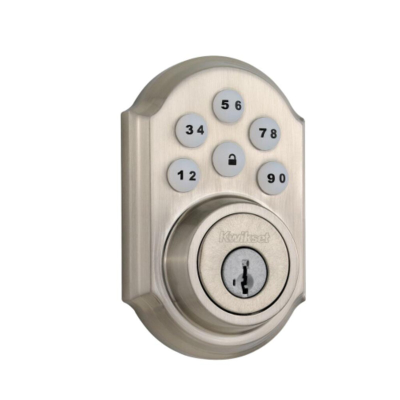Z-Wave SmartCode 910 Satin Nickel Single Cylinder Electronic Deadbolt Featuring SmartKey Security  The SmartCode touchpad smart lock with Home Connect technology enables the lock to wirelessly communicate with other devices in home. The lock allows the user (through a web enabled device) to remotely check the door lock status, lock or unlock the door and receive notifications. SmartCode is a one-touch locking motorized deadbolt. With your personalized code, you can enter your home with the convenience of keyless entry and the back-lit keypad provides increased visibility. SmartCode is easy to install, program and use, and operates on 4 AA batteries. It also features SmartKey Security as the back-up keyway. This single cylinder deadbolt can be locked or unlocked by using the keypad or key from the outside as well as the turn button from the inside. The crisp, clean appearance of the Satin Nickel finish adds to the overall look of the product and brings a modern feel. Featuring SmartKey Security, which protects against advanced break-in techniques and allows you to re-key your lock yourself in seconds For use on exterior doors where keyed entry and security is needed SmartKey Security re-key technology is compatible with Kwikset (KW1) keyway Deadbolt operated by electronic keypad or key from outside and thumb turn inside Comes with 2 keys Latch is 20-minute fire rated with round corner face ANSI/BHMA grade 2 certified Latch has adjustable backset 2-3/8 in. to 2-3/4 in. to fit all standard door preparations Includes round deadbolt strike 1 in. deadbolt throw Locking mechanism functions with turn piece on the interior of the lock Meets or exceeds Underwriter Laboratories (UL) testing requirements specified for each product grade or rating Keypad stays lit for 30 seconds after inactivity Expanding your security system solution with home connect technology, your keyless entry lock will now communicate wirelessly to security and home automation systems via Z-wave Customize