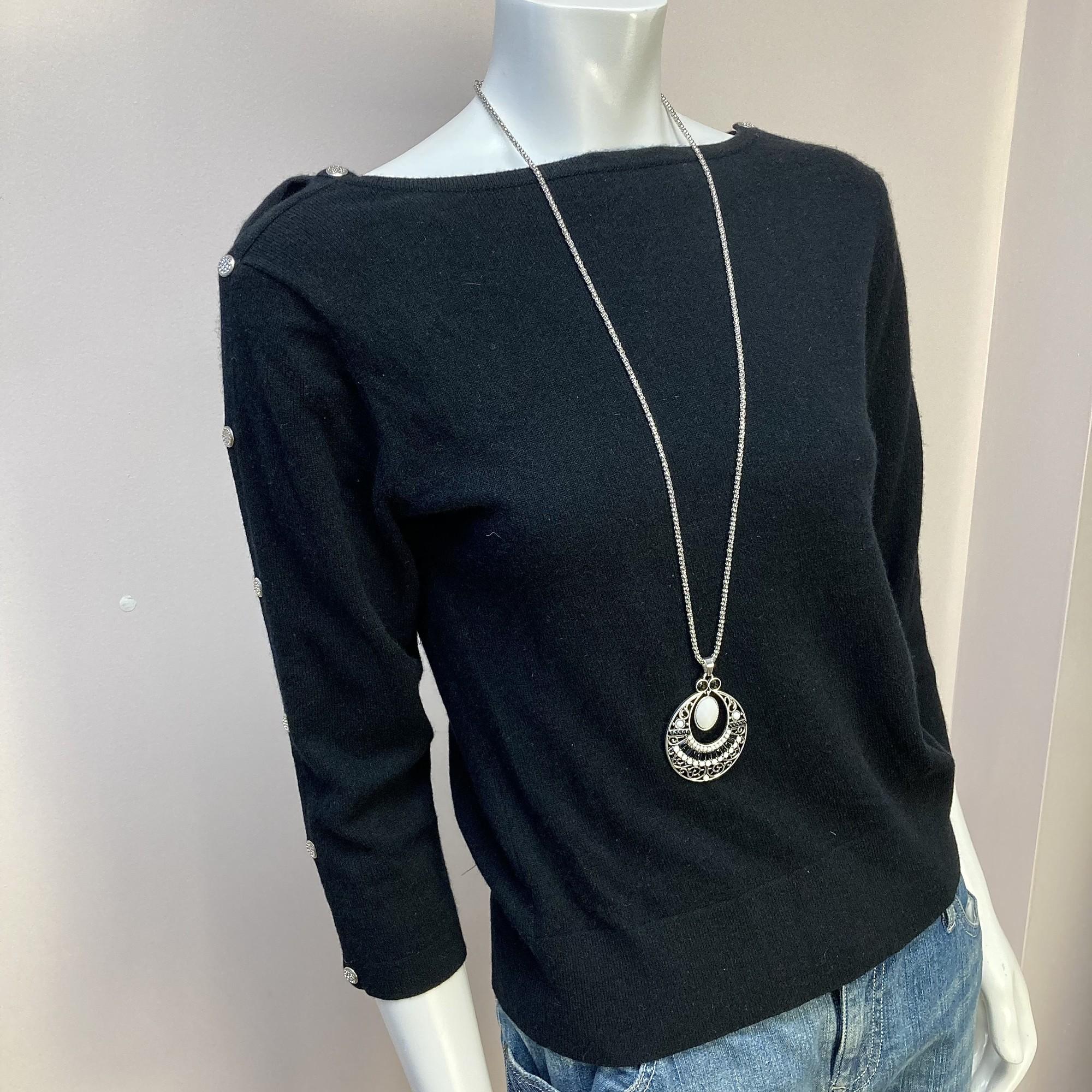 Autumn Cashmere Sweater, Black, Size: L