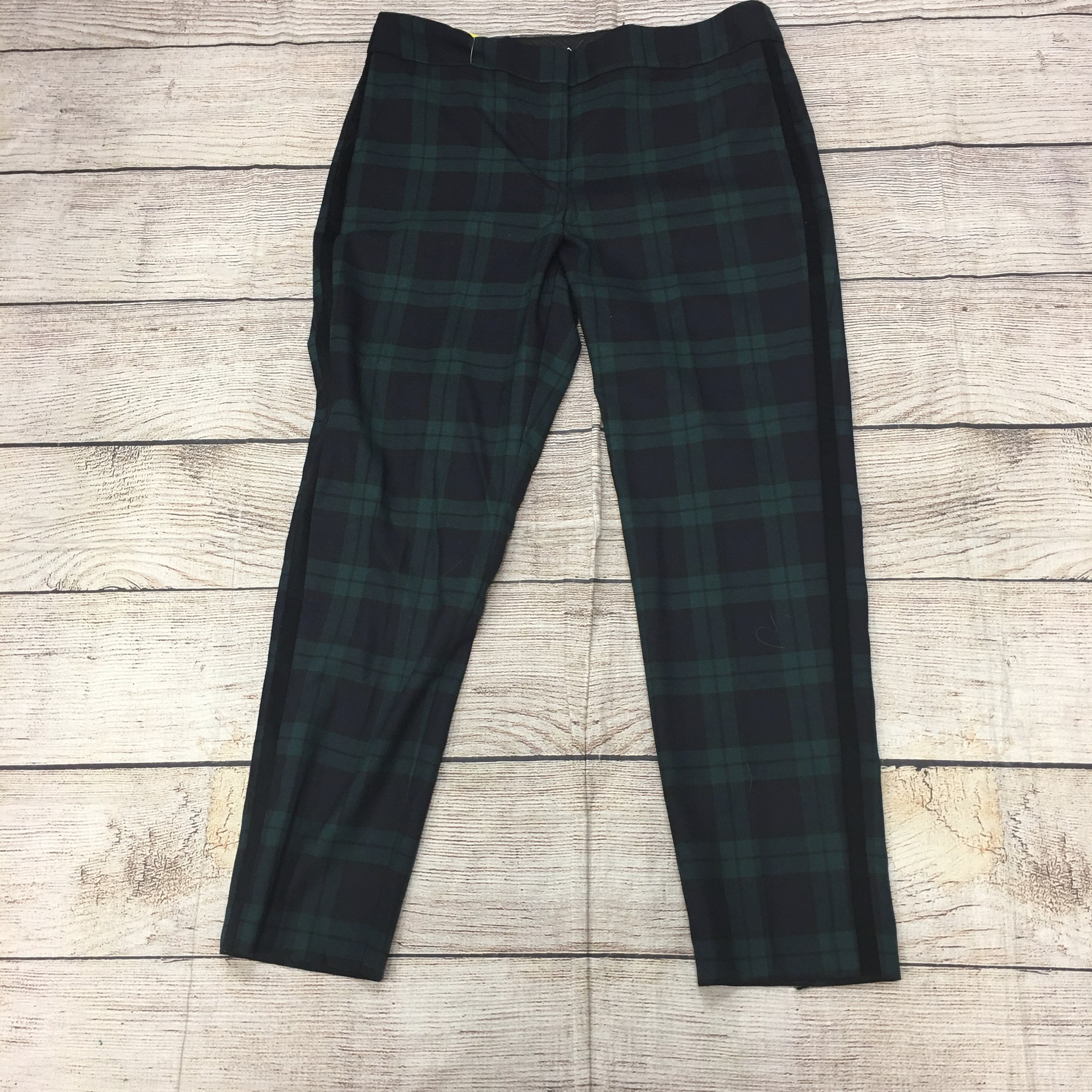 New Talbots Plaid Navy And Green Pants Size 12 Large