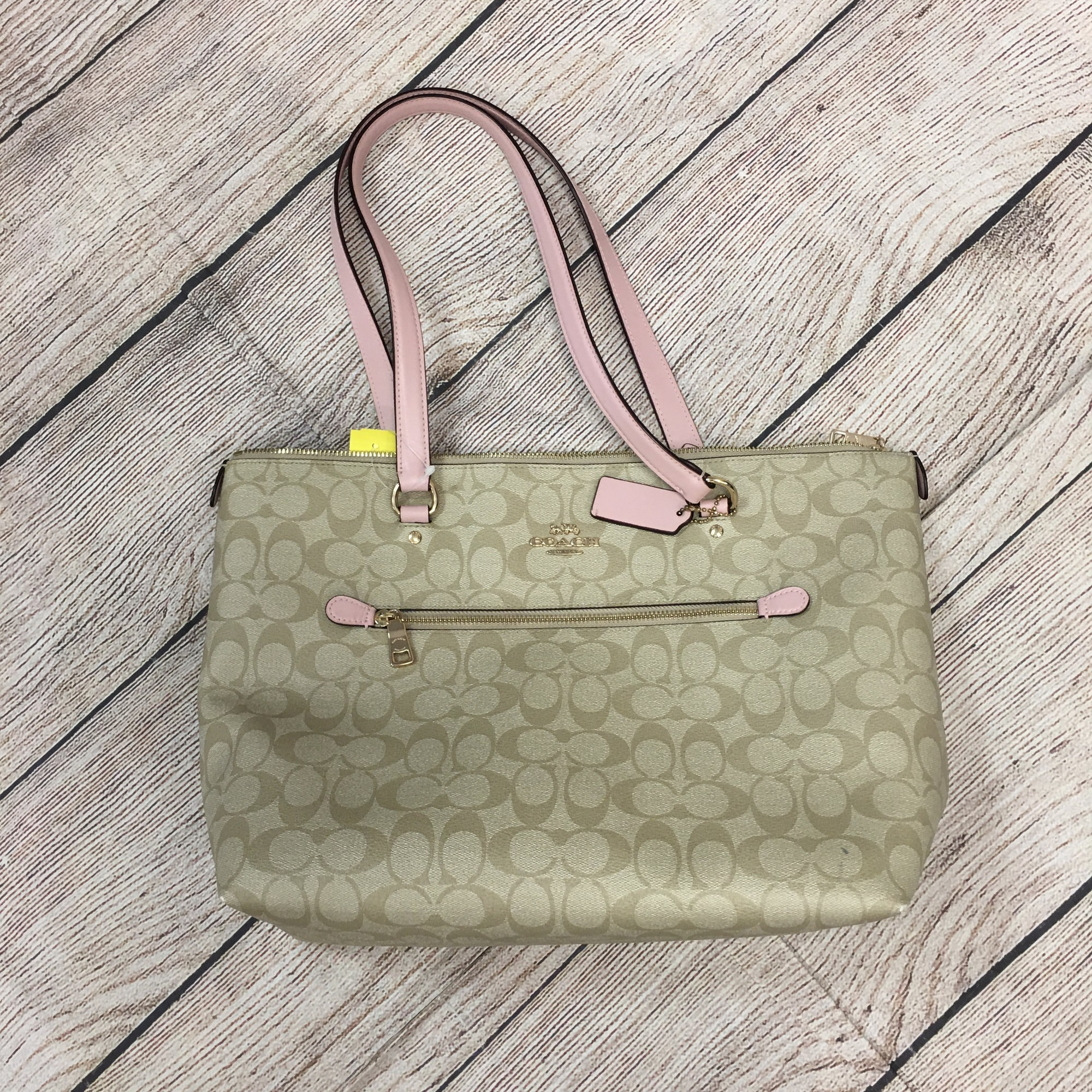 Coach Purse , Khaki, Pink Tote Size: None As IS see pictures