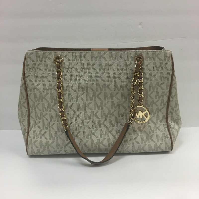 Michael Kors Purse Tan and Cream color Gold Hardware & chain handles