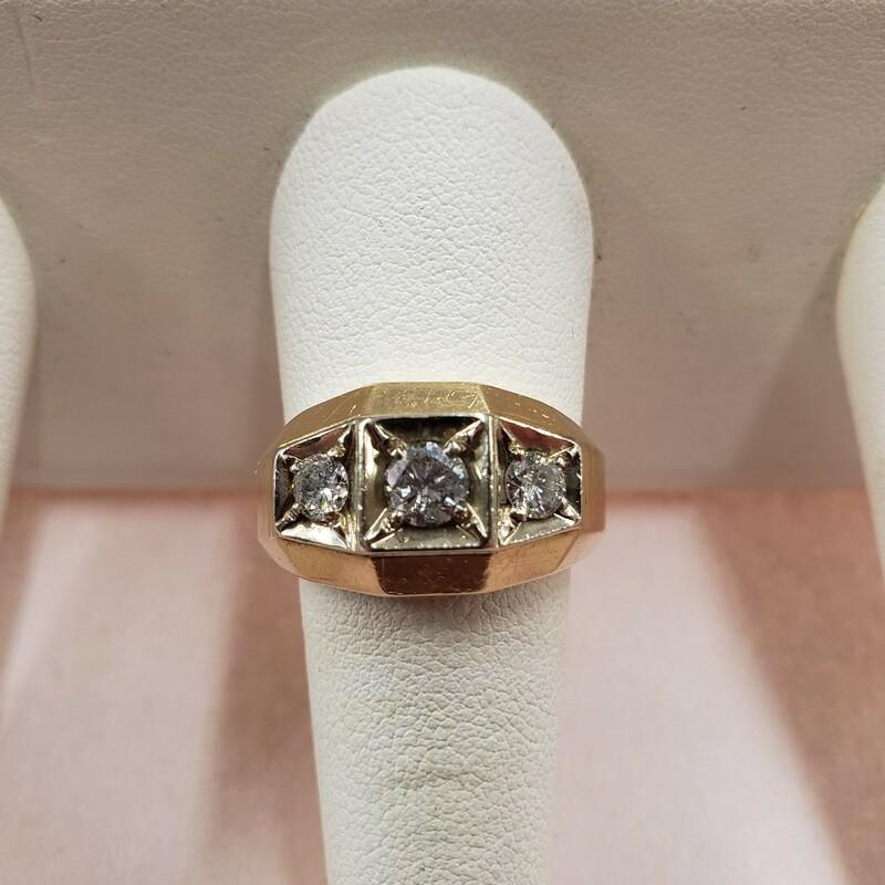 14k 3 Stone Mens Ring
