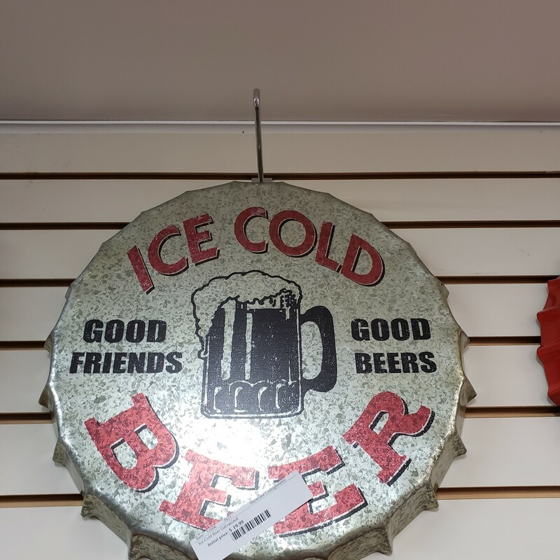 Ice Cold Beer Galvanized Metal Sign