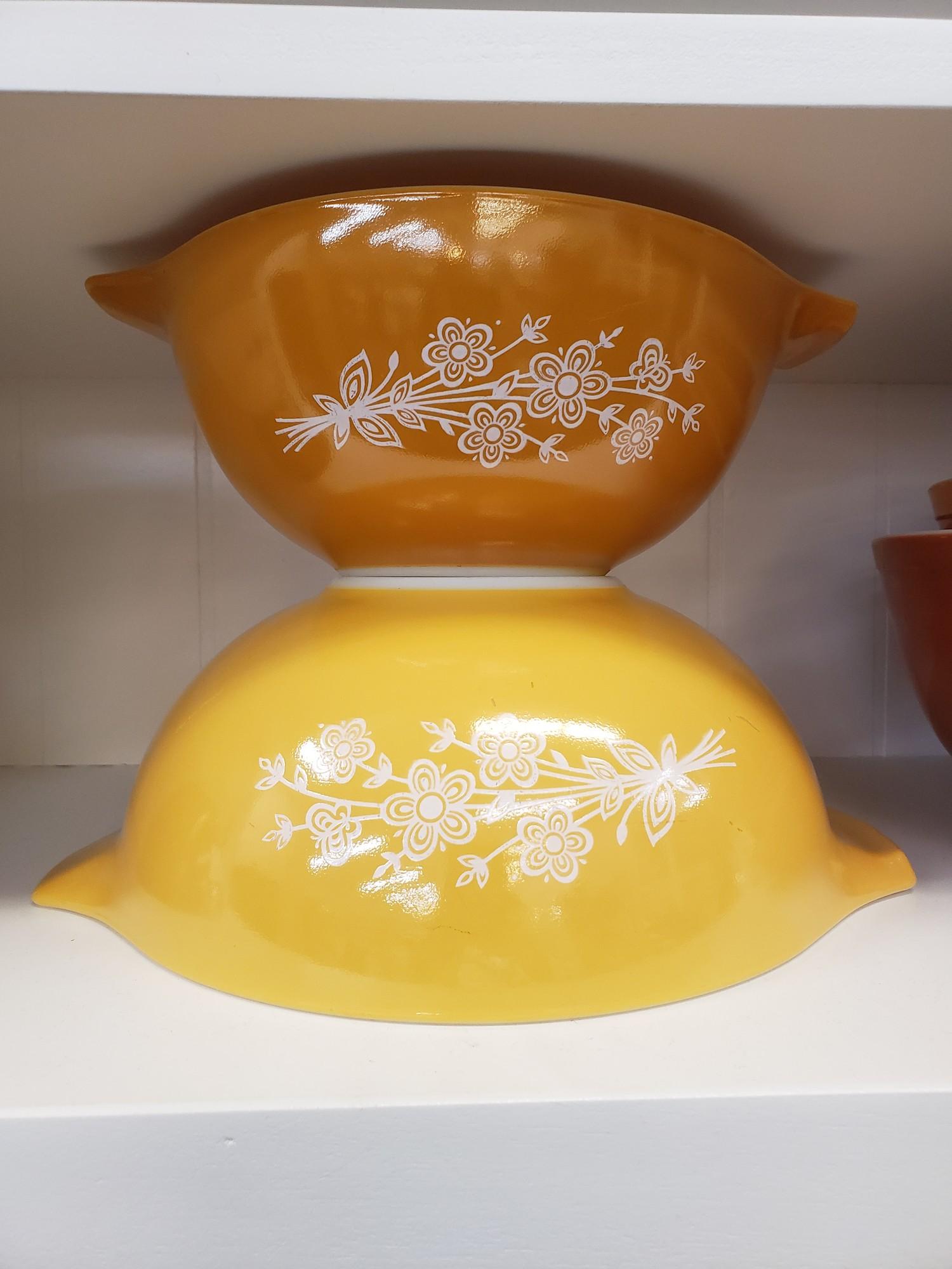 Pr Yellow Pyrex Cinderella