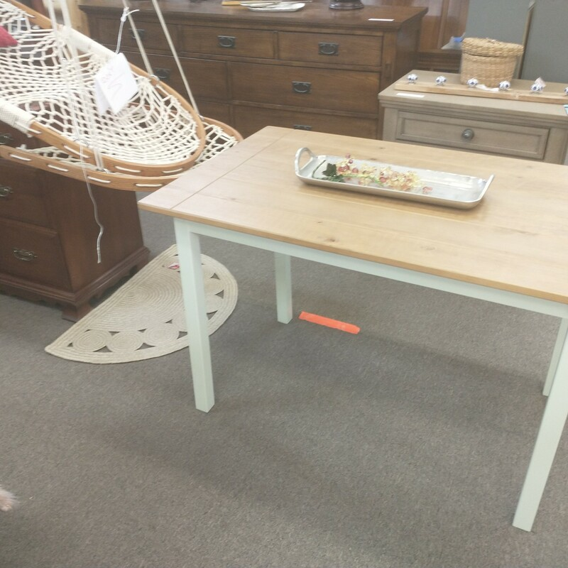 White Tan Wood Table