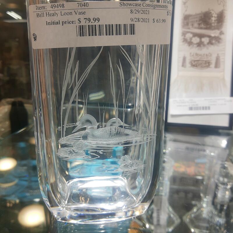 Bill Healy Loon Vase, handcrafted studio glass