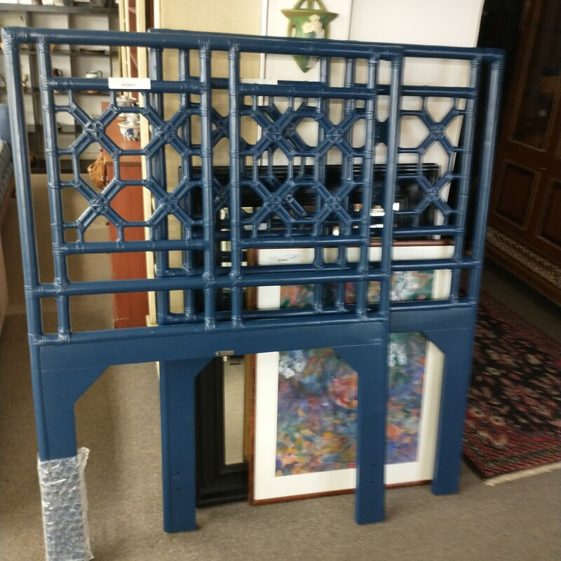 Twin Blue Rattan Headboard only. Great design ! 1 of 2 that came oin would make a cool king headboard.