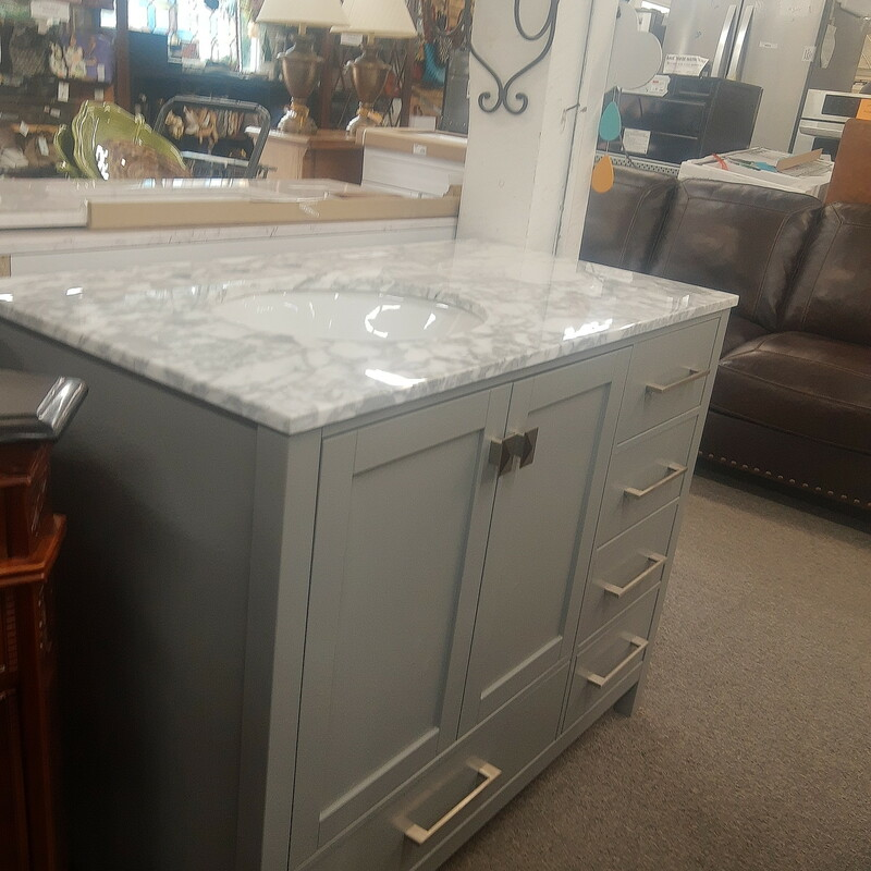 42 Gray Marble Left Sink Home Decorators Collection
