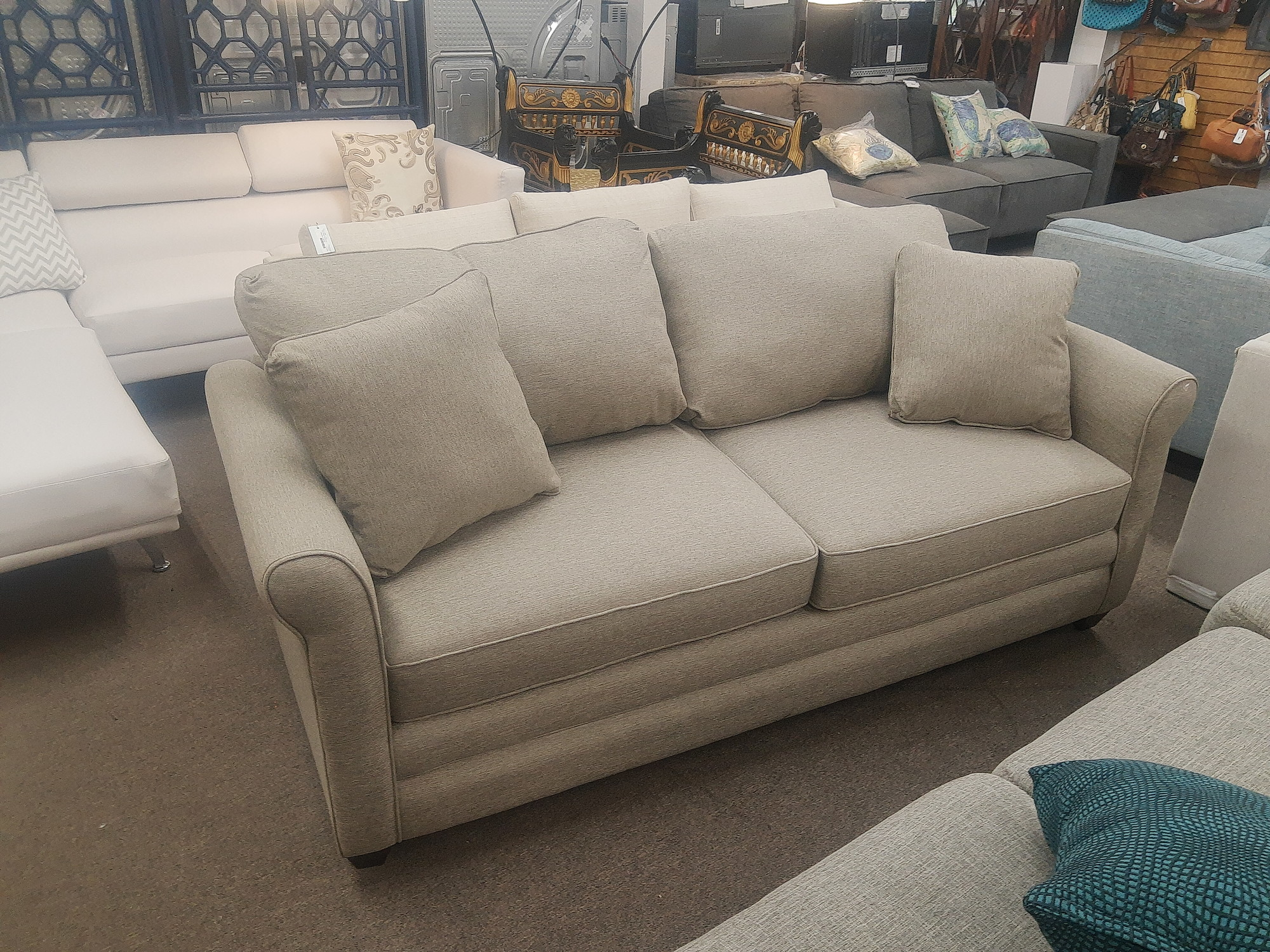 Klaussner 2 Cushion Sofa, a better quality brand carried by Jordans Furniture among others.