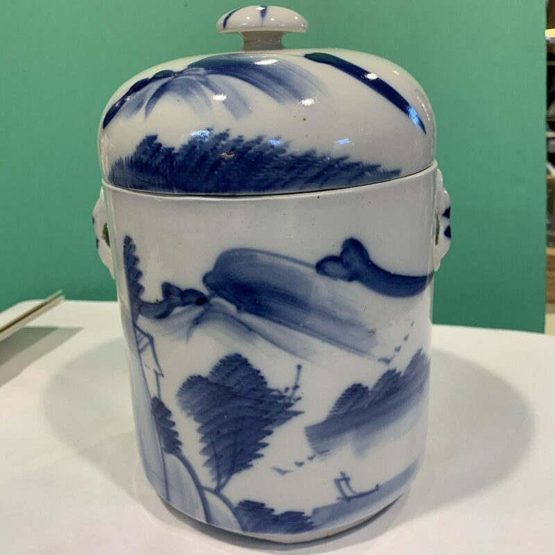 """Chinese Jar W/Insert, Wh/bl, Size: 8\"""""""